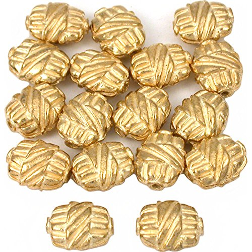 15g Bali Flat Oval Barrel Beads Gold Plt 9mm Approx 15 -