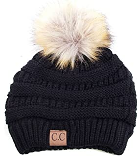 d0cf7b47f15 Plum Feathers Soft Stretch Cable Knit Ribbed Faux Fur Pom Pom Beanie Hat