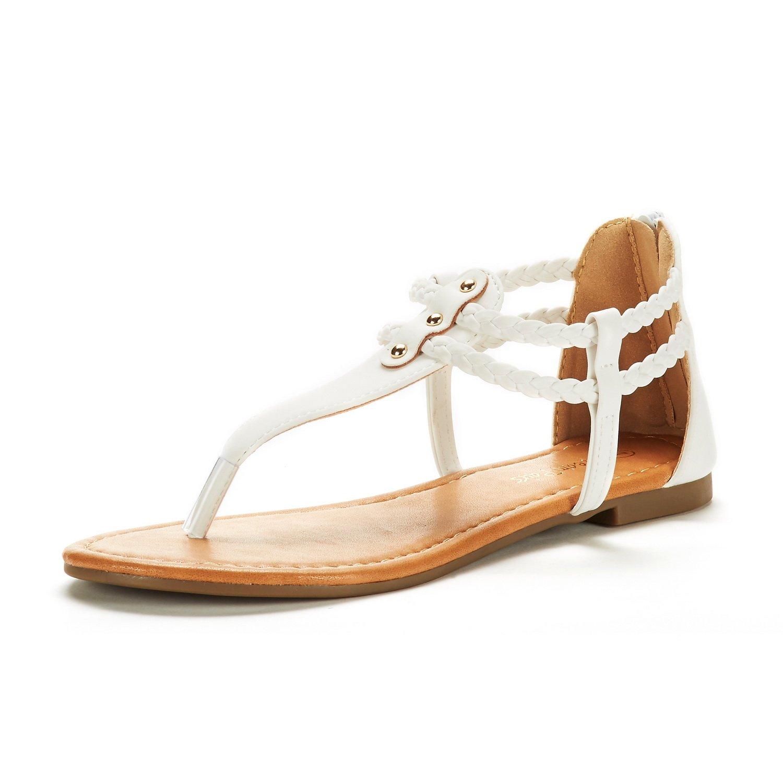 DREAM PAIRS Women's Maxi_02 White Fashion Gladiator Design Ankle Strap Flat Sandals Size 8 M US