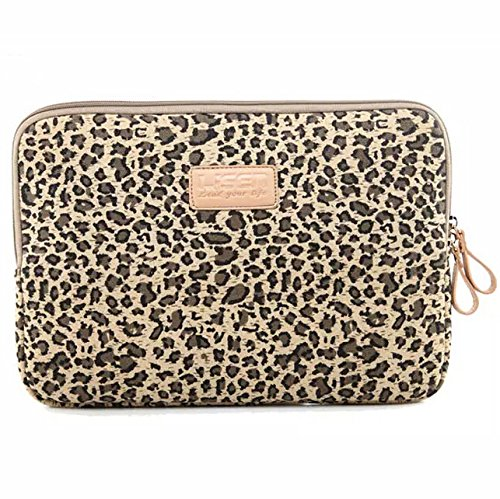 BagsFromUs Lisen Canvas Fabric Stylish Leopard's Spots Leopard Print Style 7-15.6 Inch Laptop Sleeve Computer Protective Carrying Case Bag Cover for iPad / Macbook / Dell / HP / Lenovo / Sony / Toshiba / Acer etc. (Yellow, 15.6 inch)