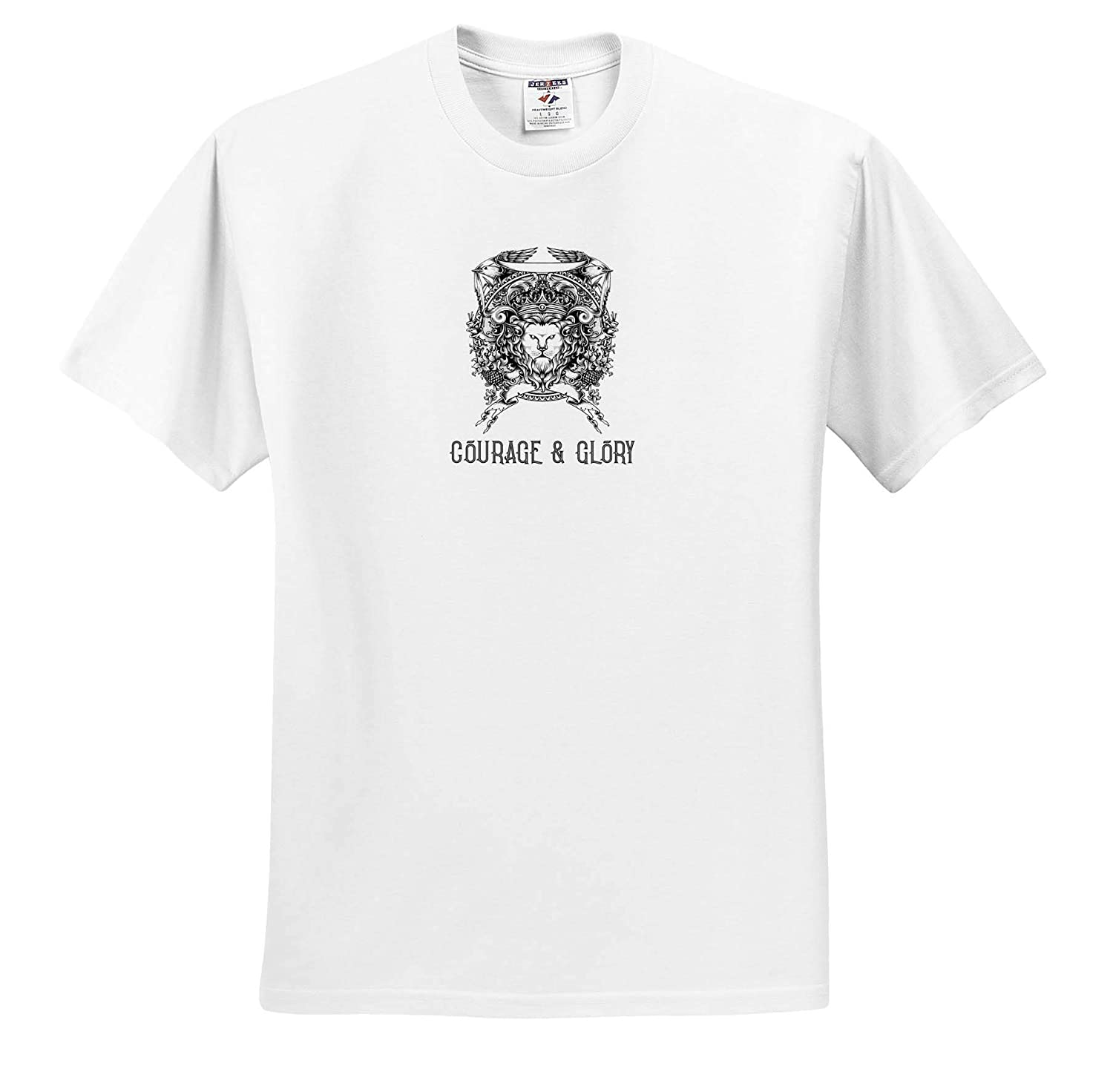 Animals A Text Courage and Glory Image of a Medieval Emblem with a Lion face 3dRose Alexis Design T-Shirts