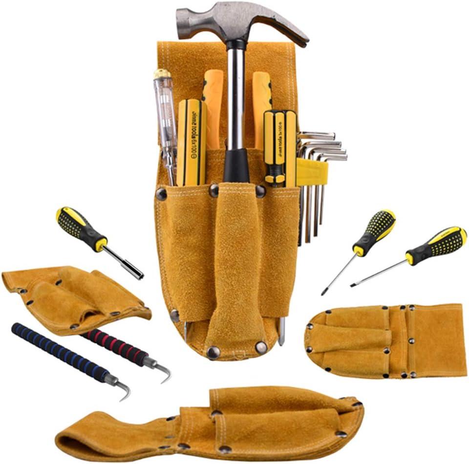 Jixista Ceinture porte outils en cuir /électricien Kit de r/éparation Taille Bo/îte /à Outils Taille Sac /à Outils Sac Messenger Sac en Peau de vache jaune pour le travail en plein air