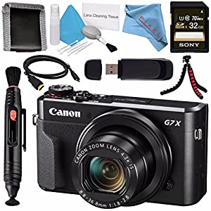 Canon PowerShot G7 X Mark II Digital Camera 1066C001 + Sony 32GB SDHC Card + Deluxe Cleaning Kit + Memory Card Wallet + Card Reader + Micro HDMI Cable + Lens Pen Cleaner + Fibercloth + Tripod Bundle
