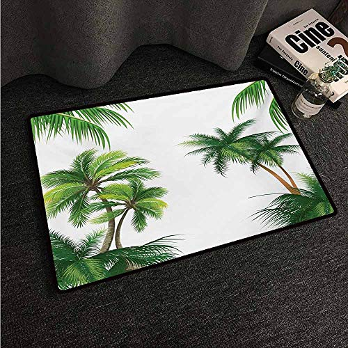 - Bath Mat Set Kitchen Door Tropical,Coconut Palm Tree Nature Paradise Plants Foliage Leaves Digital Illustration,Hunter Green,W31 xL47 Office Floor mats