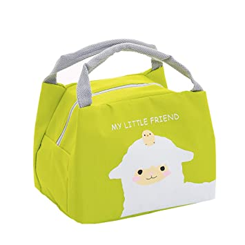 Oyachic Bolsa Termica Bolsas de Almuerzo Lunch Bag Linda Mascota Bolsas de Cremallera Bolsa de Tela Algodon Merienda Impermeable Portátil (oveja)