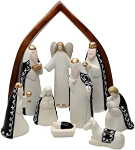 Comfy Hour Baby Jesus Holy Family with Angel Christmas Nativity Scene Figurine, Stable Set of 9 Pieces, Perfect for Christmas