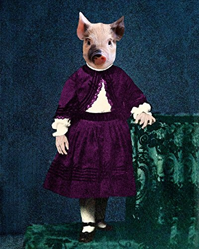 Victorian PIGLET GIRL Altered anthro pig hog Portrait ART print