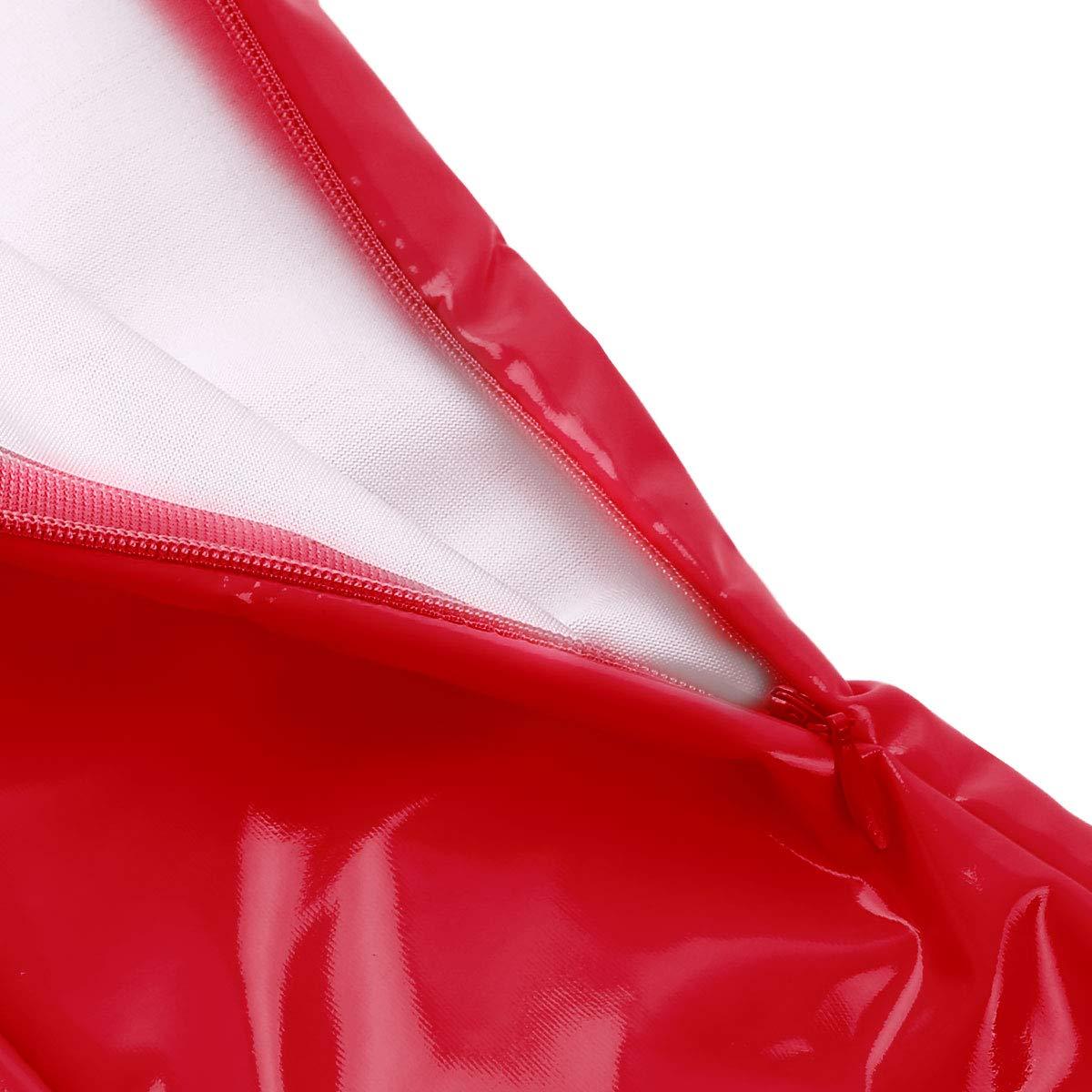 Freebily Latex Vestito Tubino Donna Scollo U Profondo Wetlook Bodycon Senza Maniche Abito Vintage da Partito Festa Costume Carnevale