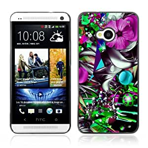 CQ Tech Phone Accessory: Carcasa Trasera Rigida Aluminio Para HTC One - Colorful Flower Abstract Illustration