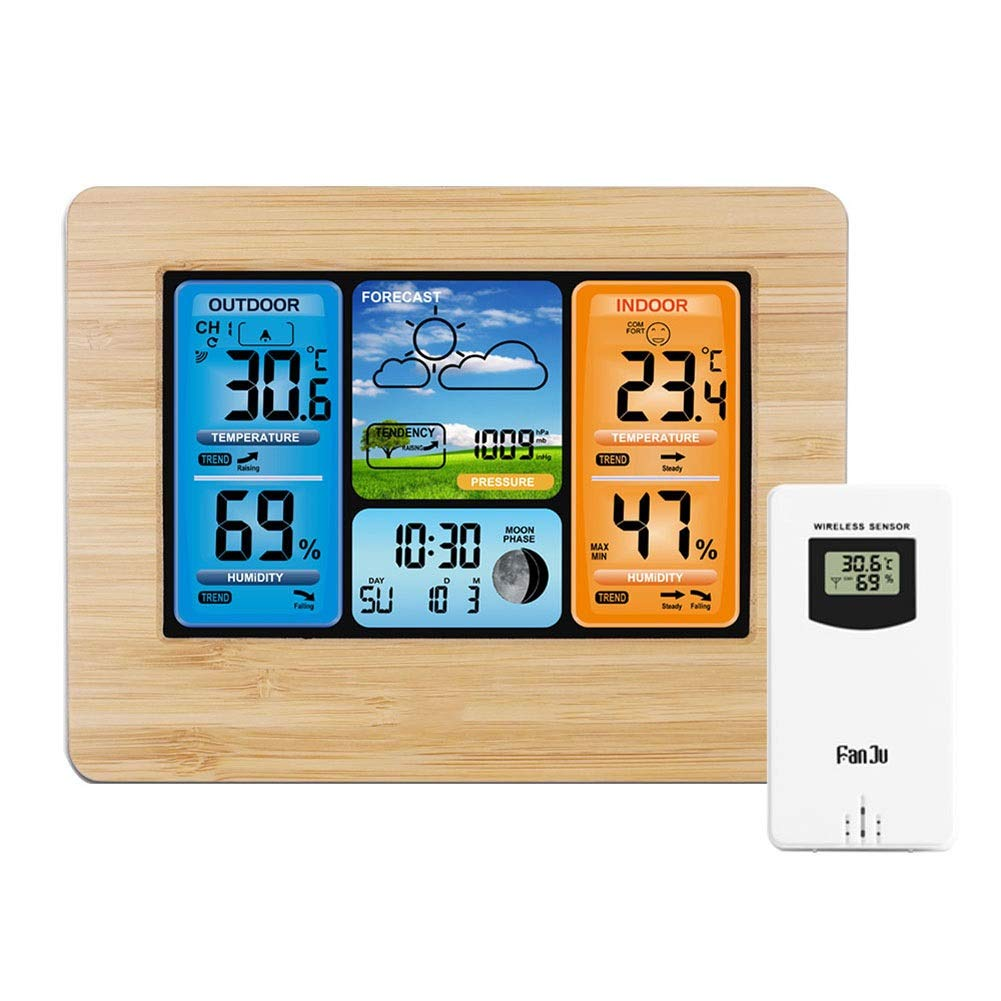 Digital Weather Station with Wireless Sensor Weather Monitoring Clocks, Multifunction Weather Forecast Watch Wall Desk Alarm Clock with temperature and Humidity ,Moon Phase, USB charging port,Wooden by LXFENG