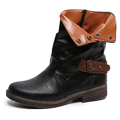 Outdoor Gear Women Over The Knee Shoes Martin Boots Leather Zipper Round Toe High Warm Non-Slip Boots,Black,35,C