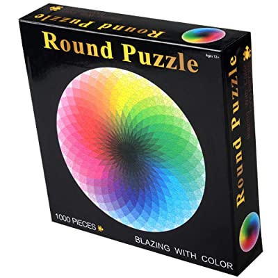 ANOVEL Puzzles for Adults Jigsaw Puzzles 1000 Pieces Big Round Rainbow Puzzles: Toys & Games