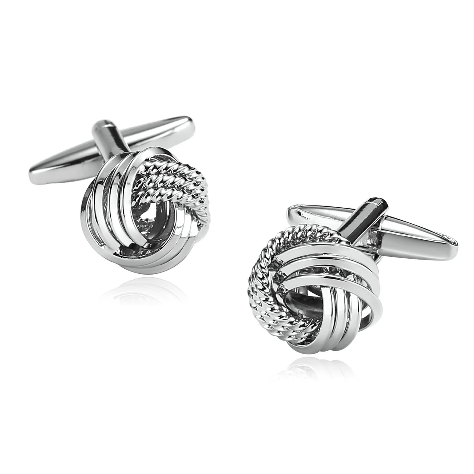 Aokarry Cufflinks-Men's Stainless Steel Rope Love Knot Cuff Links Silver