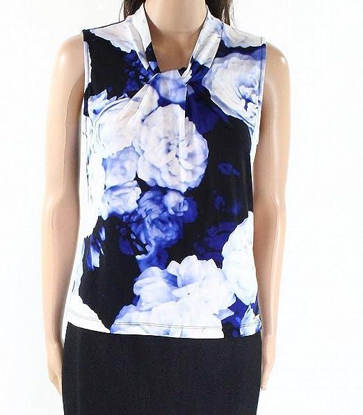 77aa30d8e3fcd Image Unavailable. Image not available for. Color  Calvin Klein Women s  Large Petite Twist Neck Top Blue PL