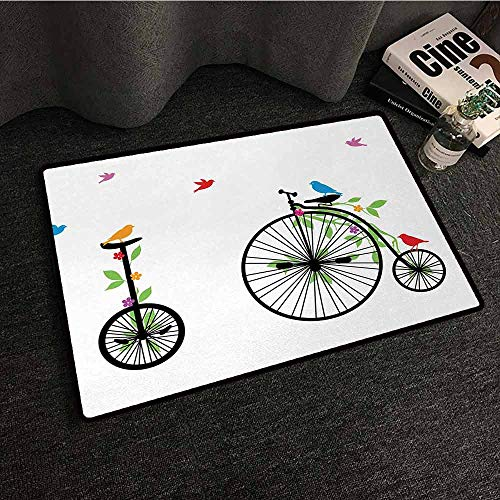 DILITECK Interior Door mat Bicycle Flying Birds and Flowers on Old Single Wheel Bikes Happiness and Joy Pedals Graphic with Anti-Slip Support W24 xL35 - Pedal Single Avenger