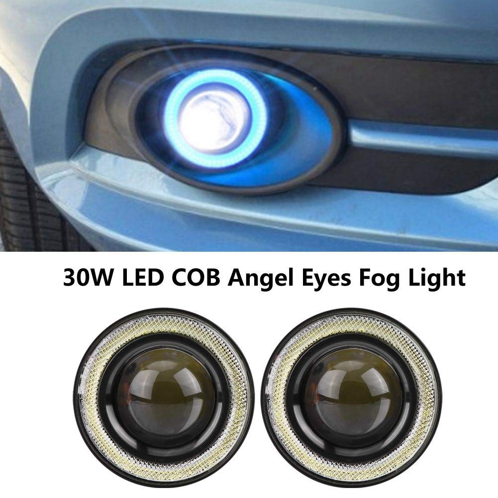 3.0in Qiilu Auto Feux Anti-Brouillard Universal 2pcs 30W LED COB Angel Eyes Daytime Running Light Feux de Brouillard de v/éhicule de Voiture