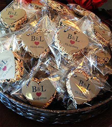 75 Bird Seed Heart Shaped Favors in individual cello bags