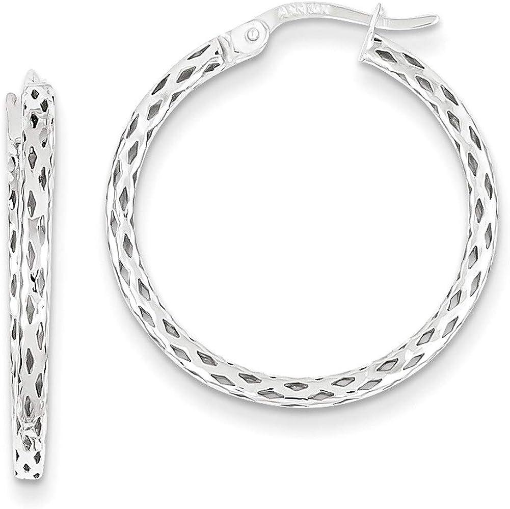 Lex /& Lu 14k White Gold Textured Hoop Earrings LAL82866