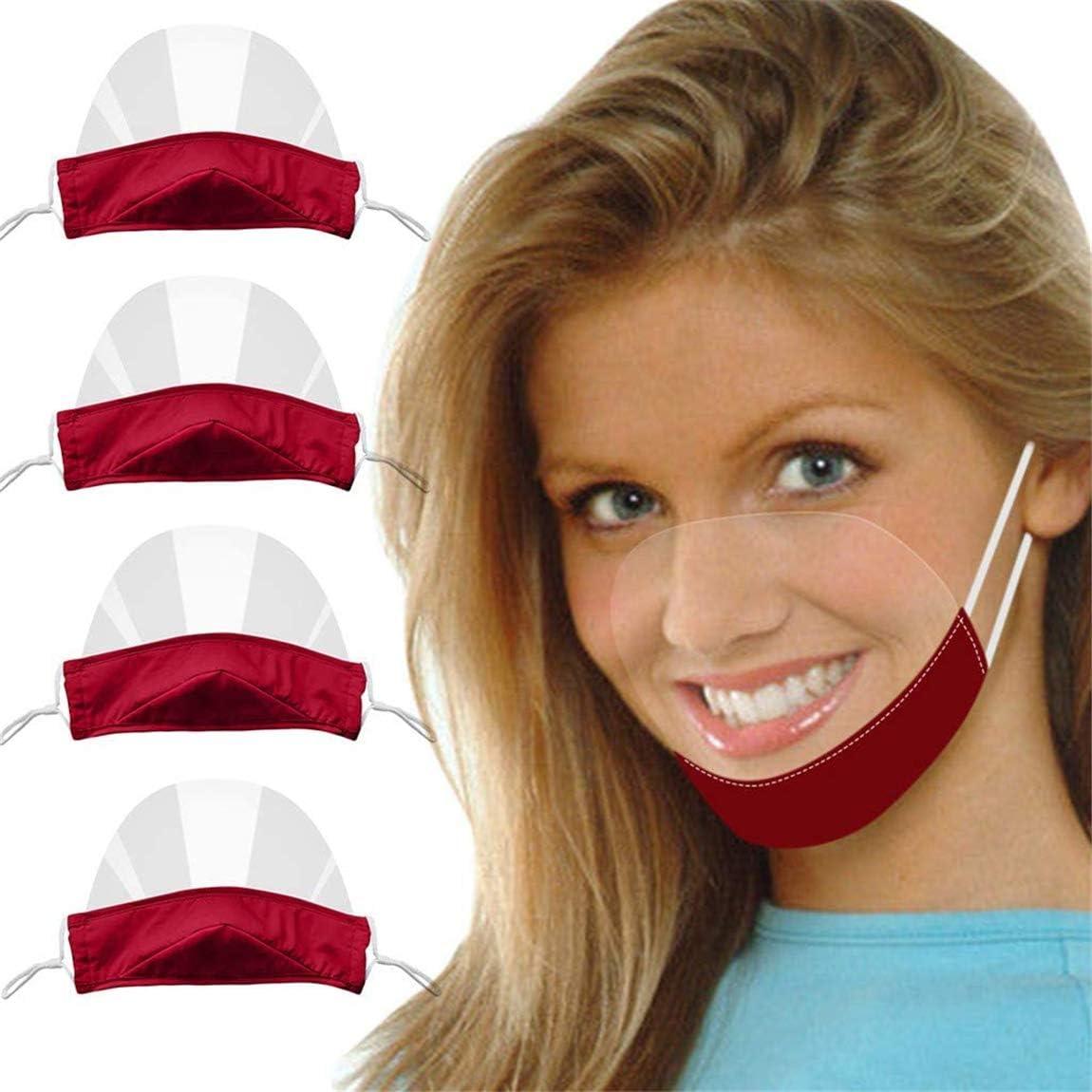 4 Piezas de Protector Transparente Protector Facial Visor de plástico Protector Facial protección Facial Anti-Saliva para higiene alimentaria Visor para manipuladores Alimentos Visor Protector(Rojo)