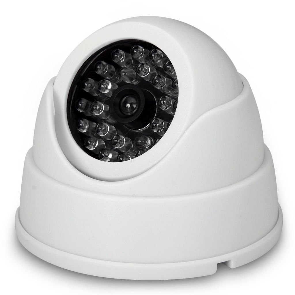 Phot-R 2x Outdoor Indoor Adjustable Fake Imitation IR Dome CCTV Blinking Red LED Flashing Light Surveillance Security Dummy Cam Camera with Warning Sticker White