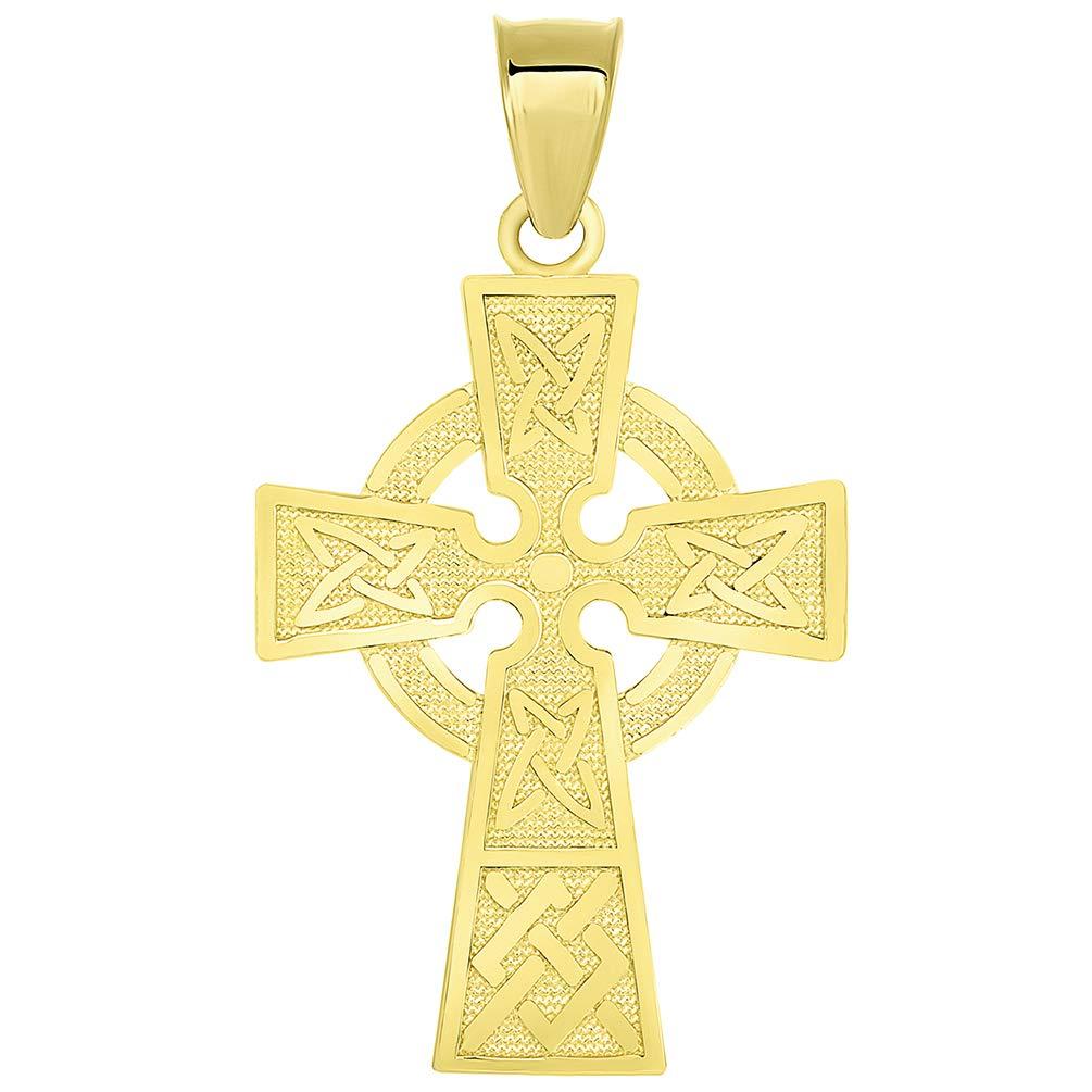 Solid 14k Yellow Gold Trinity Knot Celtic Cross Pendant JewelryAmerica Mr00054y