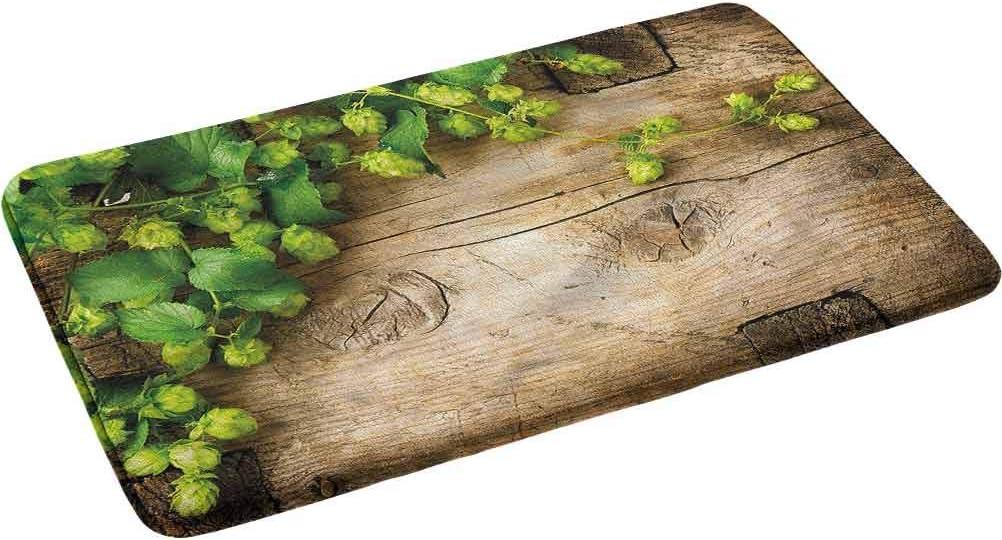 Plant Shower Curtain Hop Twigs on Wood Print for Bathroom