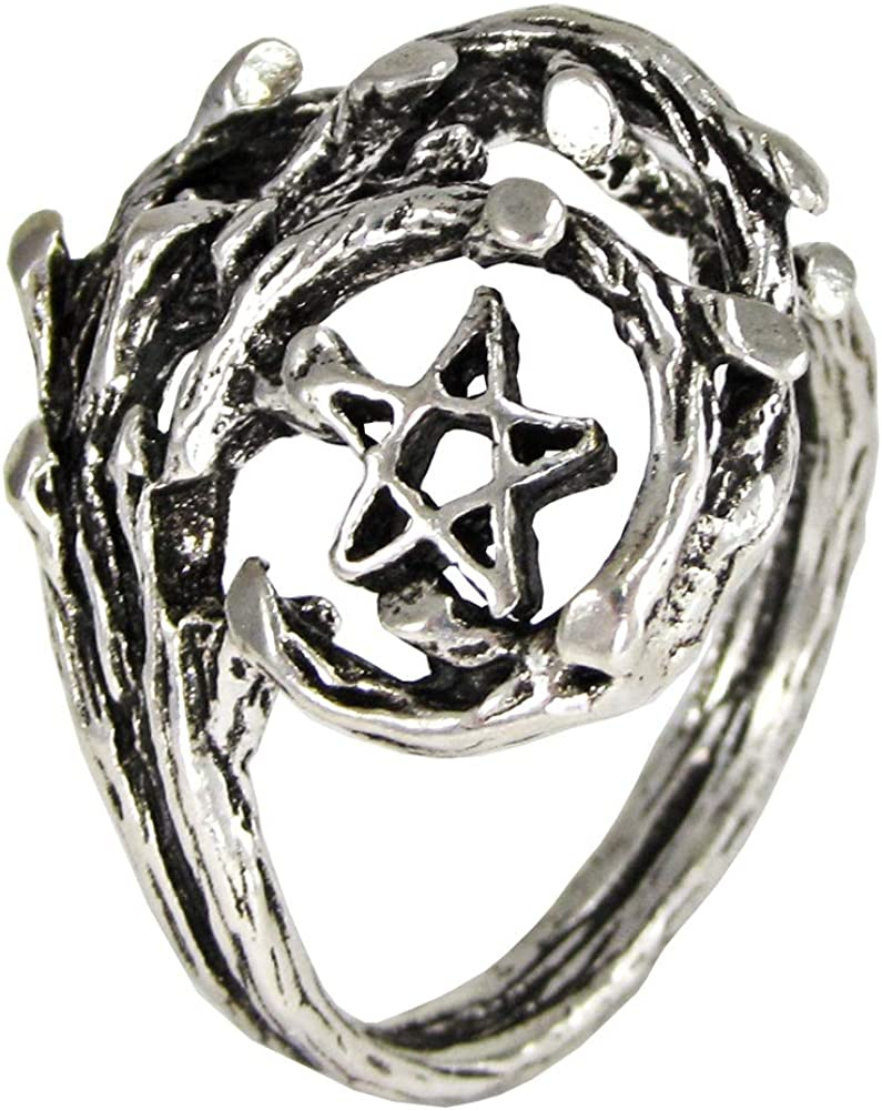 Moonlight Mysteries Sterling Silver Tree Branch Pentacle of Life Druid Ring (Sizes 4-15)