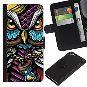 Protector de cuero de la PU de la cubierta del estilo de la carpeta del tirón BY RAYDREAMMM - Apple Iphone 6 - Colorido Búho Gangster