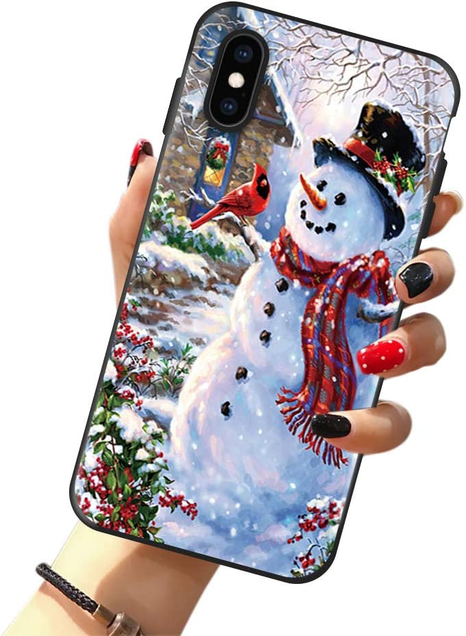 Christmas Case for iPhone 8 Plus & iPhone 7 Plus, Happy Snowman Cardinals Winter Holiday Christmas Case for Girls/Women Flexible Silicone Shockproof Drop Protection Case for iPhone 7/8 Plus 5.5 inch