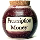 Prescription Money 5 inch Ceramic Stoneware Humorous Coin Savings Jar and Lid