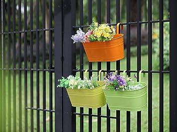Hanging Garden Pots Planters Dipamkar set of 3 metal hanging plant pots flower pots with dipamkar set of 3 metal hanging plant pots flower pots with drainage hole balcony plant workwithnaturefo