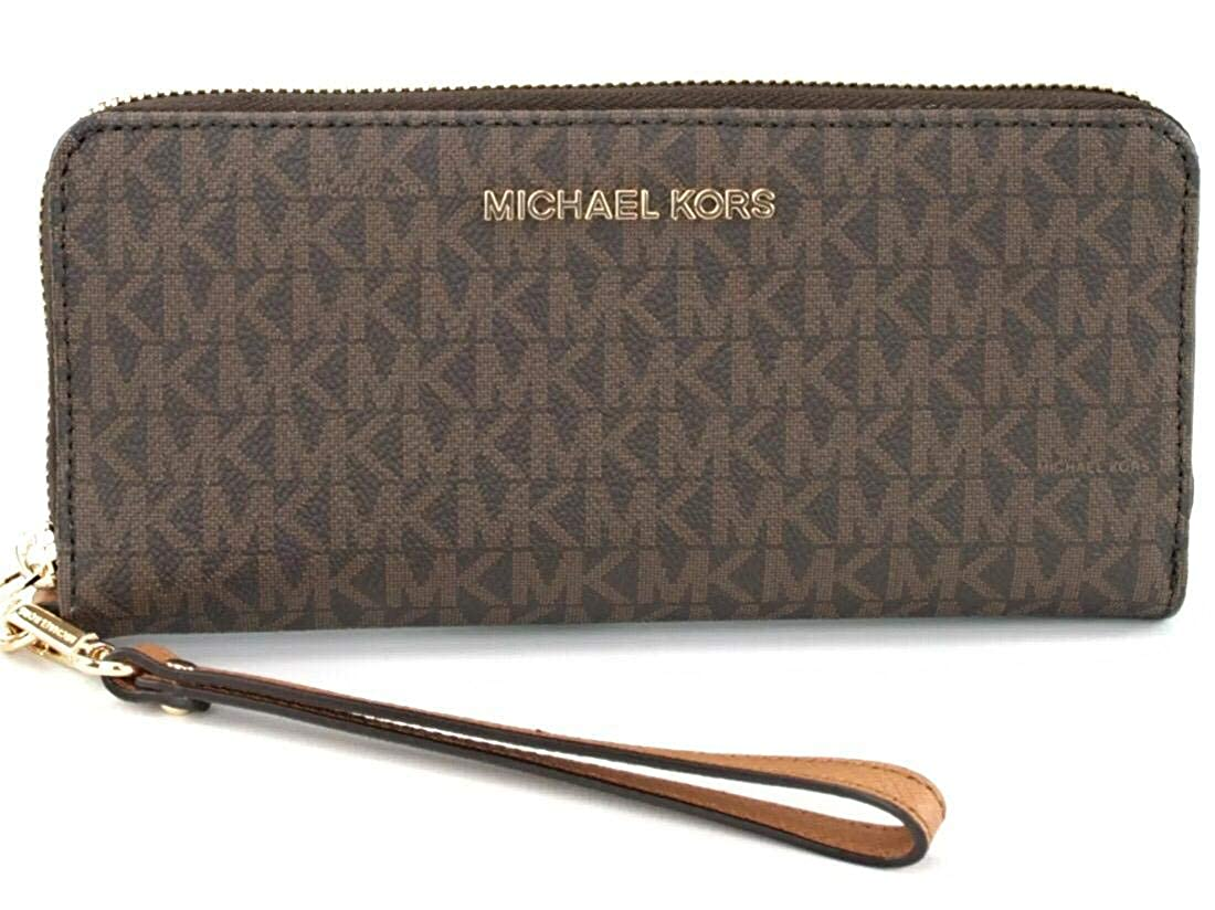 6cf581530cb6 Michael Kors Jet Set Travel Monogram Zip Around Travel Wallet Wristlet  (Brown 2018): Amazon.co.uk: Clothing