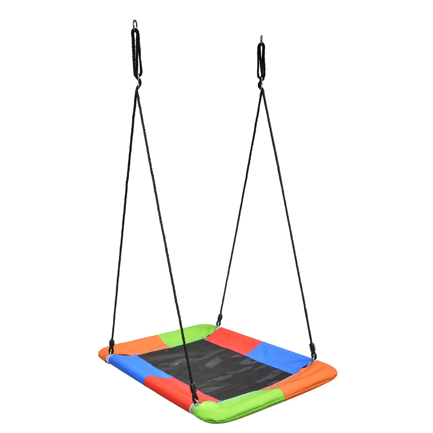 Swinging Monkey Giant Mat Platform Swing in Vibrant Rainbow Tree Swing 40'' x 30'' 400 lb Weight Capacity Waterproof Fabric Reinforced Steel Frame No Hassle Adjustable Ropes Easy Install by Swinging Monkey Products