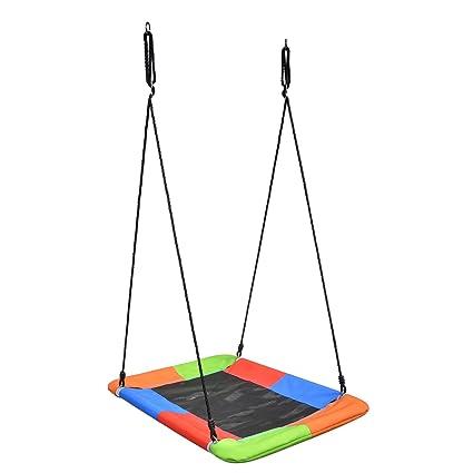Swinging Monkey Giant Mat Platform Swing In Vibrant Rainbow Tree Swing 40 X 30 400 Lb Weight Capacity Waterproof Fabric Reinforced Steel Frame No