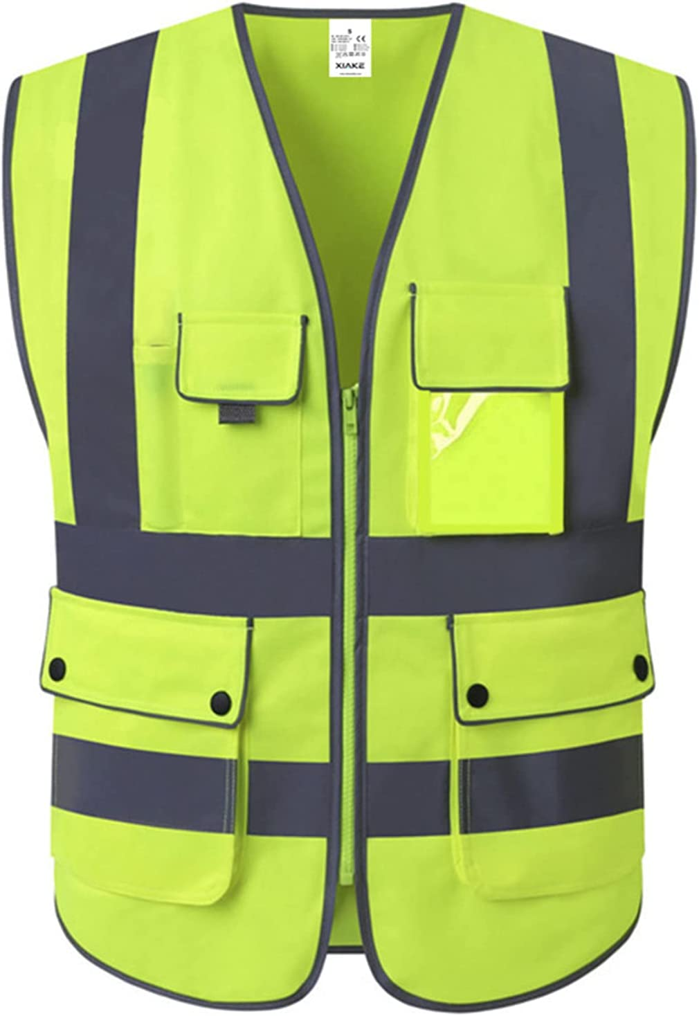 XIAKE Class 2 High Visibility Reflective Safety Vests with 8 Pockets and Zipper Front, Meets ANSI/ISEA Standards(Small, Yellow) - -