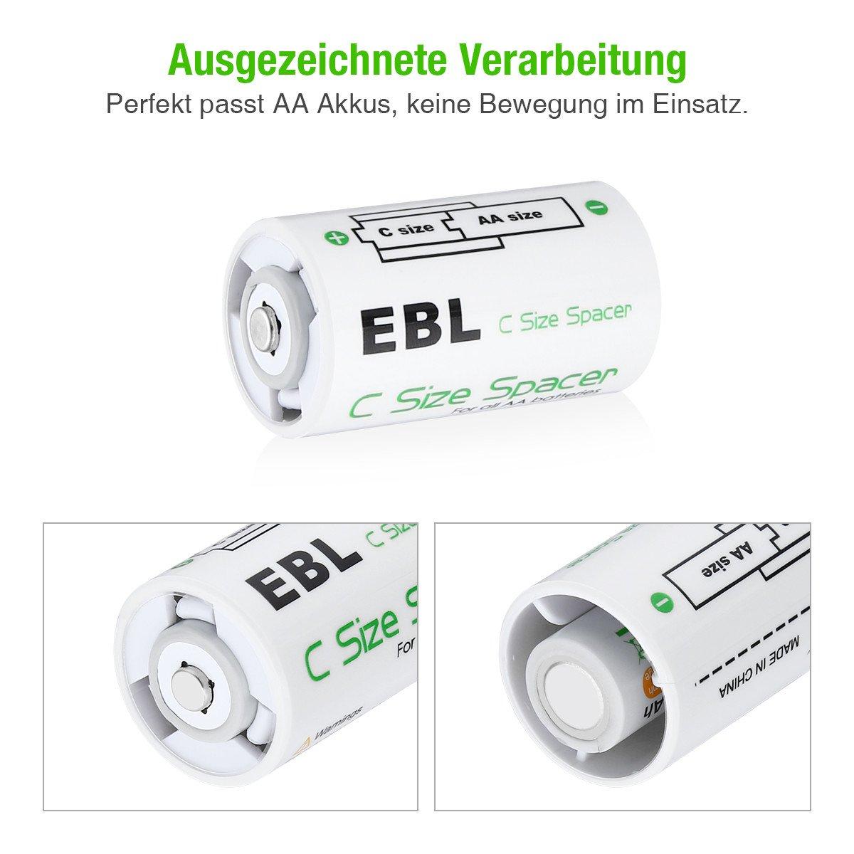 EBL 4 St/ück Mono D Akku Adapter f/ür AA Akku und Batterie
