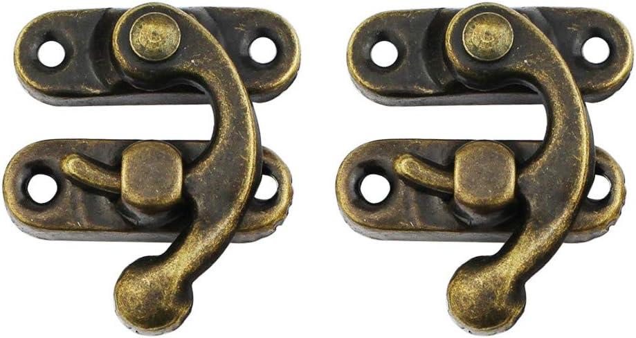 37 x 42 mm cerradura de regalo para vino caja de madera 12 ganchos de bronce antiguo derecho con tornillos joyas
