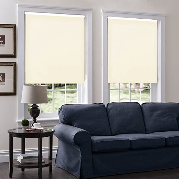Windowsandgarden Cordless Roller Shades, Any Size 19-96 Wide, 30W x 40H, Serena Light Filtering Room Darkening White