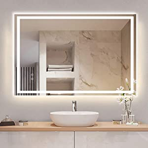 DLLT 36 x 28 Inches LED Lighted Vanity Bathroom Mirror, Dimmable Wall Mounted Mirror Lights with Plug, Makeup Mirror with Touch Switch for Bedroom, Anti-Fog & Waterproof Mirror with Light, CRI>90″ /></a></div> <div class=