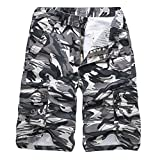 iZHH Men's Casual Camouflage Outdoors Pocket Beach Work Cargo Shorts Pant(Gray,34)