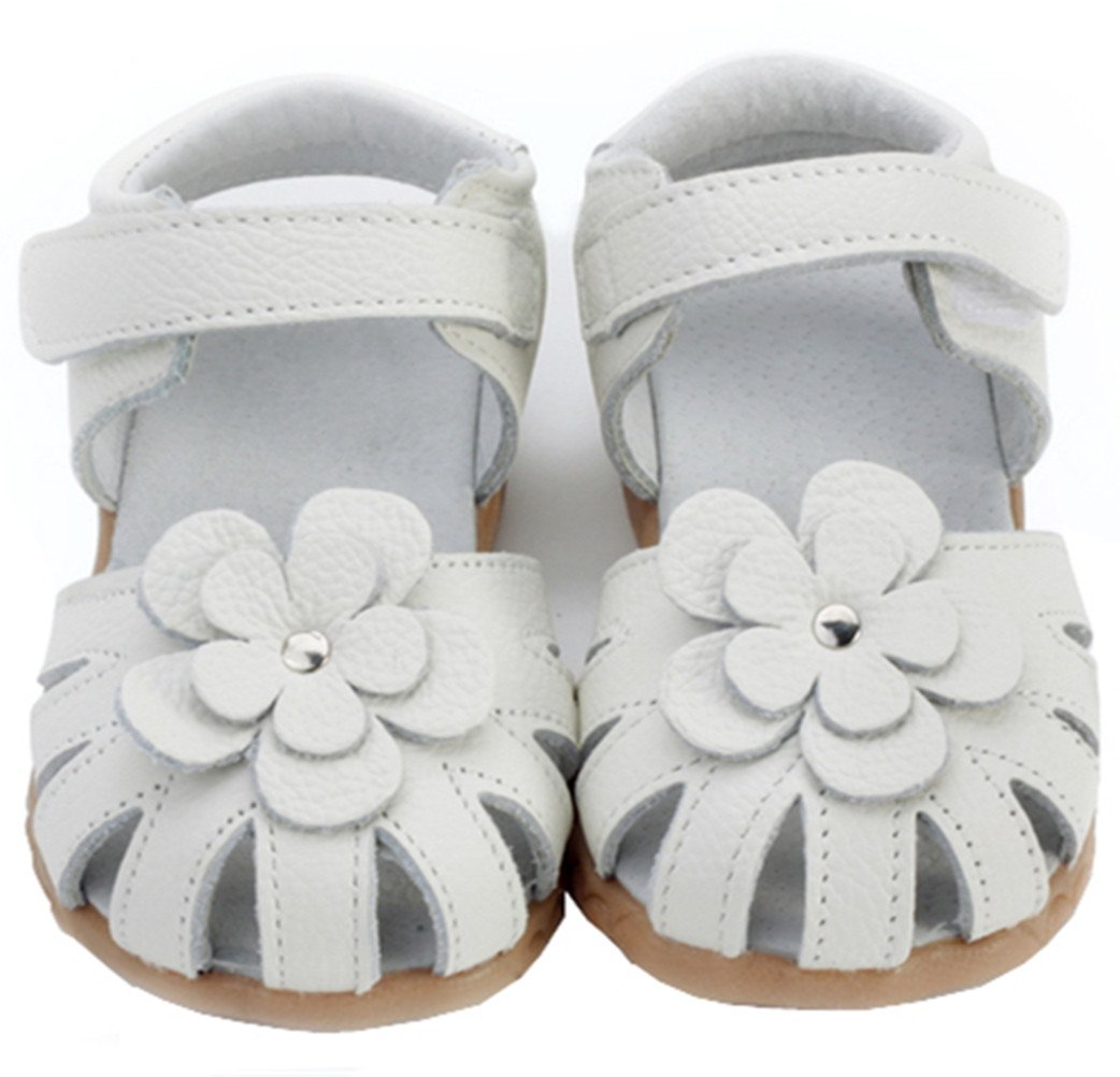 DADAWEN Girls Genuine Leather Soft Flat Shoes Closed Toe Solid Flower Summer Sandals(Toddler/Little Kid) White US Size 8.5 M Toddler