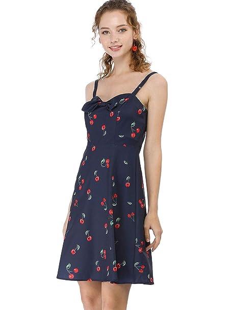 0a832c6e9985 Allegra K Women's Cherry Print Dress Spaghetti Strap Suspender Retro Mini  Summer Sundress at Amazon Women's Clothing store: