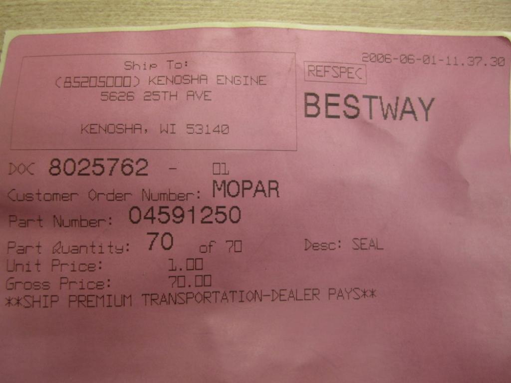 Pack of 70 Mopar 04591250 EGR Tube Gasket