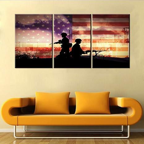 5pcs CANVAS Veteran Pride// AMERICAN ARMY Wall Art Picture Printed Home Decor