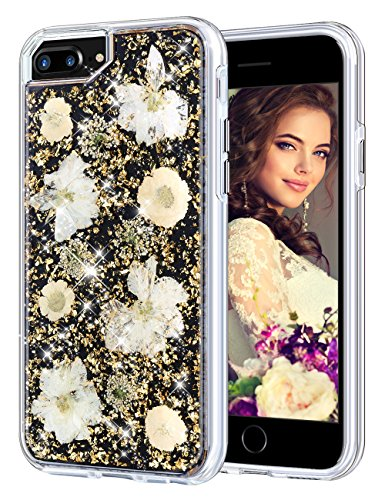 Coolden Case for iPhone 8 Plus Case iPhone 7 Plus Glitter Case with Dried Flower Cute Girly Durable Shockproof 2 Layers Solid PC TPU Cover Case for iPhone 6 Plus 6s Plus 7 Plus 8 Plus, Gold Flower