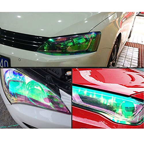 HOHO Transparent Chameleon Headlight Film Color Light Rear Back Tail Light Tint Wrap Film Vinyl for All Cars,Motors Lamp,30cmx300cm