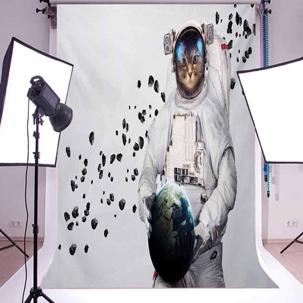 Space Cat 10x12 FT Photo Backdrops,Astronaut Kitten in Space Suit Holding World with Galaxy Clusters Image Background for Baby Birthday Party Wedding Vinyl Studio Props Photography White Black and Bl