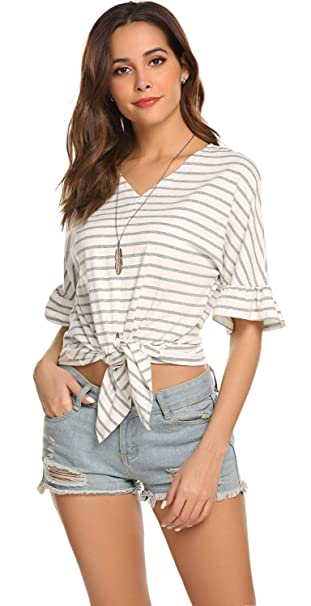 f604dee2 Image Unavailable. Image not available for. Color: POGTMM Women Plus Size  Gray and White Striped Shirts Tops Short Sleeve Casual Crop ...