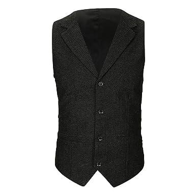 cf0bb4f515 AMhomely Men's Lightweight Casual Pocket Droit Waistcoat Vest,Autumn ...