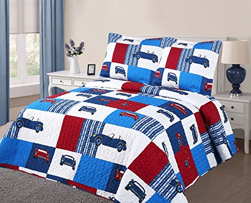 Golden Linens 3 pcs (1 Quilt, 2 pillow cases) Bedspread Kids Quilt Blue White Red Luxury Cars #Cars -06, Full by Goldenlinens